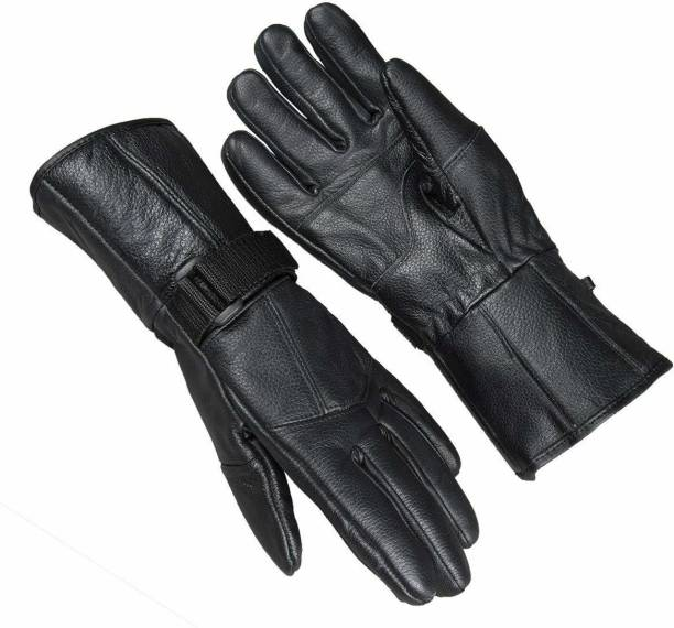 zaysoo Special Black 1 Pair Leather Snow Proof Winter Gloves Driving Gloves