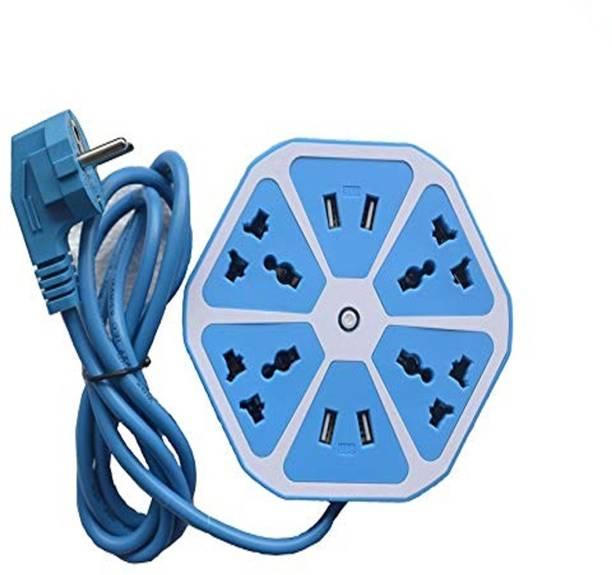 Rolgo1 Hexagon Shape Socket Extension Board with 4 USB 2.0 A Charging Points 6  Socket Extension Boards