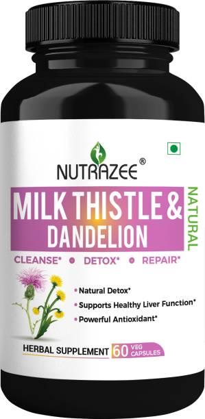 Nutrazee Milk Thistle & Dandelion 500mg Natural Liver Detox, Cleanse & Support Supplement