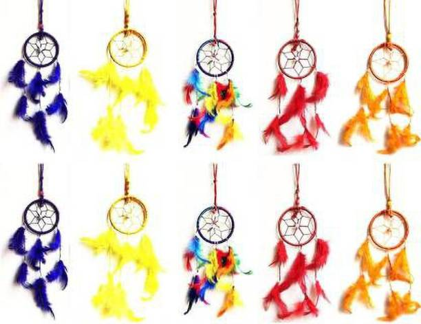 Ryme Purple,Yellow ,Multi, Red, Orange Wall Hanging (Pack Of 10) Wool Dream Catcher