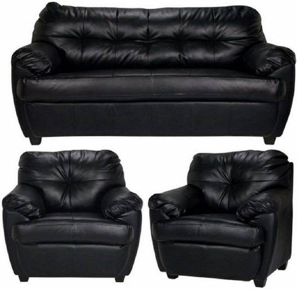 gnanitha Leatherette 3 + 1 + 1 black Sofa Set