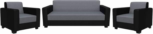 gnanitha Fabric 3 + 1 + 1 grey and black Sofa Set