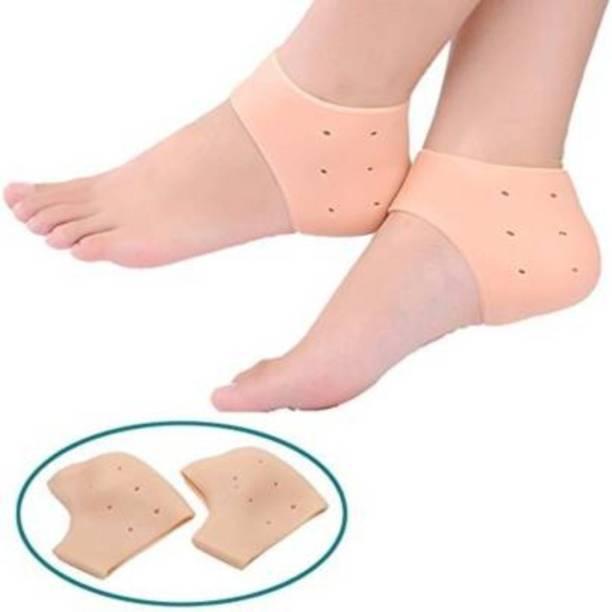 NKmax Heel Protector Anti Crack Pad Socks One Pair (Orange) Heel Support