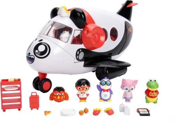 Jada Toys Ryan's World Panda Airplane Toy Car Set for Kids - Multicolor