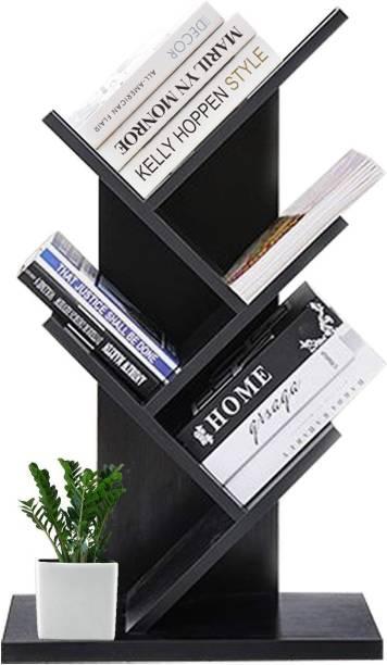 Urbancart Tree Bookshelf/Bookrack Organizer for Books/CDs/Albums/Files Holder in Living Room Home & Office.(5 Tier)(Black) Solid Wood Open Book Shelf