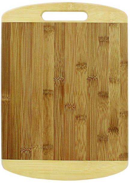 KitchenFest Premium Quality Size (24*34 cm) Natural Bamboo Chopping Board with Handle for Vegetables, Fruits, Meat Wooden Cutting Board