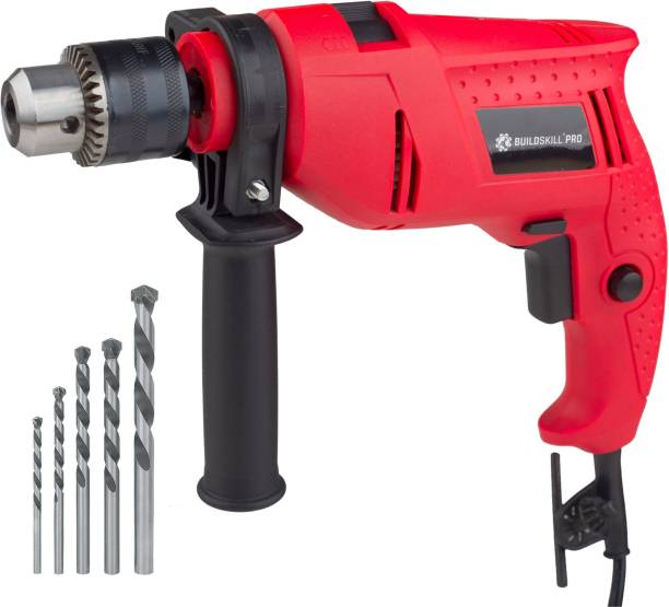 BUILDSKILL Professional High Quality DIY Reversible BGSB13RE Hammer Drill Machine with 5 High Quality Bits Hammer Drill