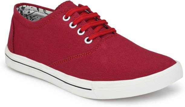 ALBANIA Maroon White Walking Casual Sneakers Shoes Sneakers For Men