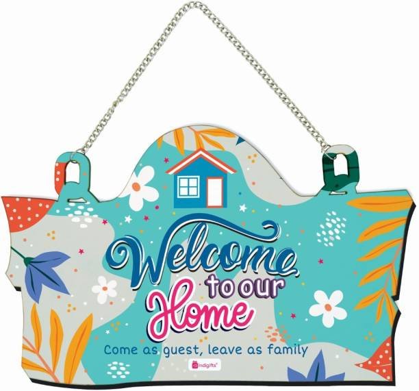 Indigifts Welcome Sign Board For Home Decorative Wall Hanging