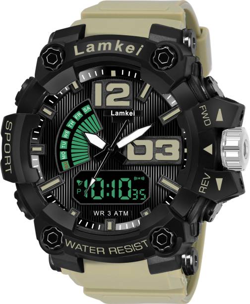 LAMKEI LK-94 Analog Digital Watch For Men - Premium Imported Casual Sporty Display Day and Date Function Black Dial Green Silicon Strap Analog-Digital Watch for men and boys Analog-Digital Watch  - For Men