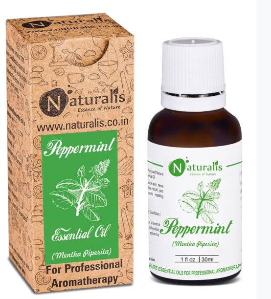 Naturalis Peppermint Essential Oil 100% Undiluted Pure and Natural Therapeutic grade for Hair Growth, Skin, Face, Cold, Congestion, Pain & Diffuser