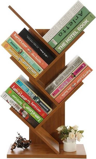 Urbancart Tree Bookshelf/Bookrack Organizer for Books/CDs/Albums/Files Holder in Living Room Home & Office.(5 Tier) Solid Wood Open Book Shelf