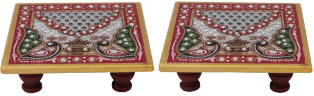 Paheli Craft Marble Chowki Set of 2 With Peacock Design For Puja (4x4 inch, Multicolor) Marble Pooja Chowki