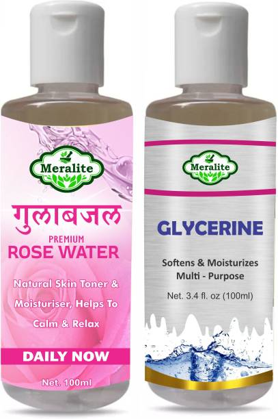 Meralite Glycerin and Rose Water for Beauty and Skin Care (100ml) Pack of 2