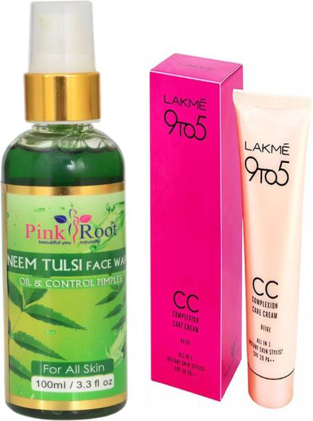 PINKROOT NEEM TULSI FACE WASH WITH LAKME 9TO5 CC CREAM
