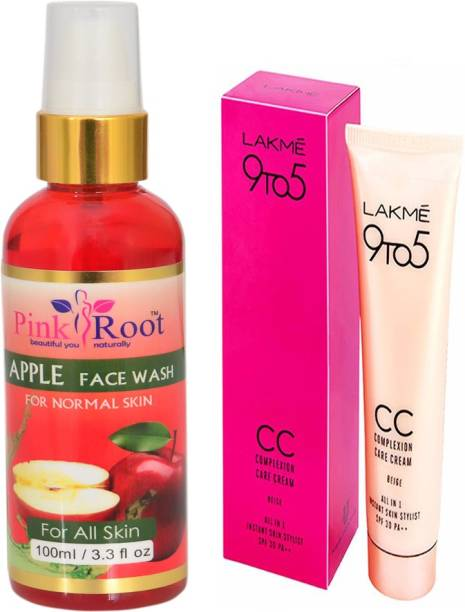 PINKROOT APPLE FACE WASH WITH LAKME 9TO5 CC CREAM