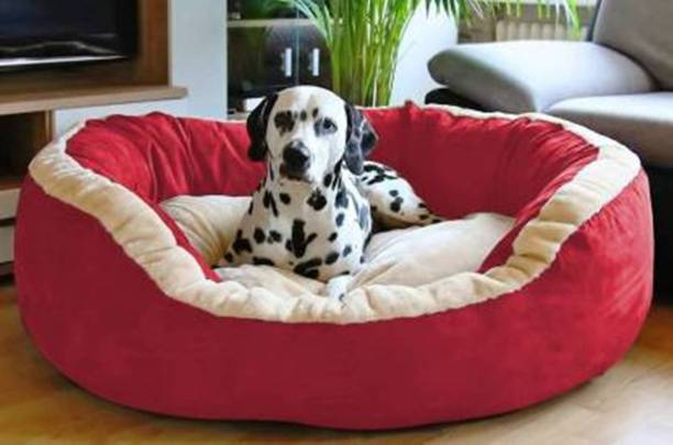 R.K Products 28 red with cream patti L Pet Bed