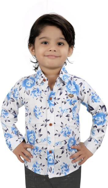 FOREVER YOUNG Baby Boys Printed Casual Blue Shirt
