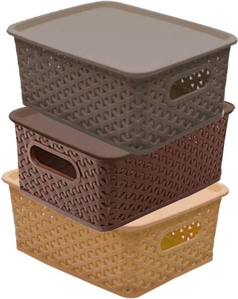 KUBER INDUSTRIES Plastic 3 Pieces Small Size Multipurpose Solitaire Storage Basket Storage Basket