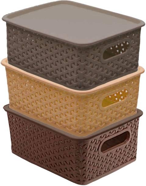 KUBER INDUSTRIES Multipurpose Solitaire Storage Basket with Lid (Multi) -CTLTC10896 Storage Basket