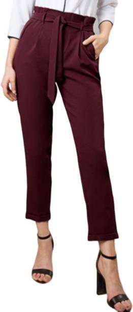 MISS LOCAL Slim Fit Women Maroon Trousers