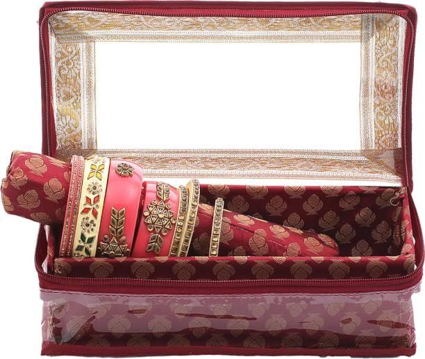 KUBER INDUSTRIES Brocade Hardboard One Rod Bangle Box (Maroon) - CTKTC22933 Make Up Vanity Box