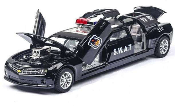 Obvie 1:24 Scale Die Cast Limousine Police Toy Car Pull Back Sedan With Opening Doors Police siren Blinking Lights and Sound