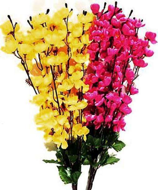 blue penguin Lovely and Brite Yellow, Pink Orchid Artificial Flower, Blossom for the Home, Garden, artificial orchid flowers sticks-stem bunch for vase/vases. (22 inch, Pack of 2) Yellow, Pink Orchids Artificial Flower