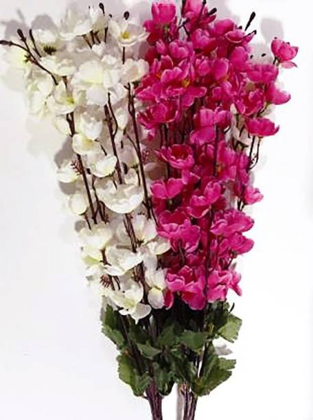 blue penguin Beautiful and Brite White, Pink Orchid Artificial Flower, Blossom for the Home, Garden, artificial orchid flowers sticks-stem bunch for vase/vases. (22 inch, Pack of 2) White, Pink Orchids Artificial Flower