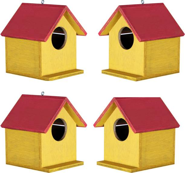 Paxidaya Wooden Bird House For Sparrow 4 Piece Bird House