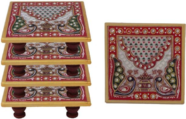 Paheli Craft Marble Chowki Set of 5 With Peacock Design Aasan For Puja (4x4 inch, Multicolor) Marble Pooja Chowki