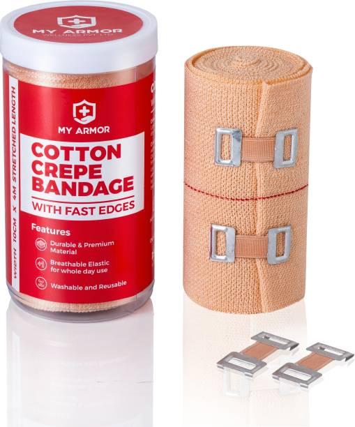 MY ARMOR Premium Cotton Crepe Bandage - Roll Sports Wrist Wrap Straps, Elastic Compression (4m x 10cm) Crepe Bandage