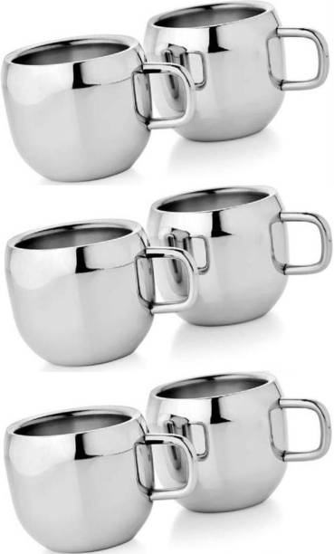LIMETRO STEEL Pack of 6 Steel Stainless Steel High Polish Double Wall Tea & Coffee Cups Set of 6 For Home & Office