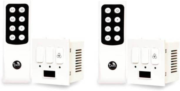 DOTT Modular Remote Control Switch For 2 Lights & 1 Fan - One Way Wireless Electrical Switch(Pack of 2 Remote And 2 Switch) A Home Automation Device. 6 A One Way Electrical Switch