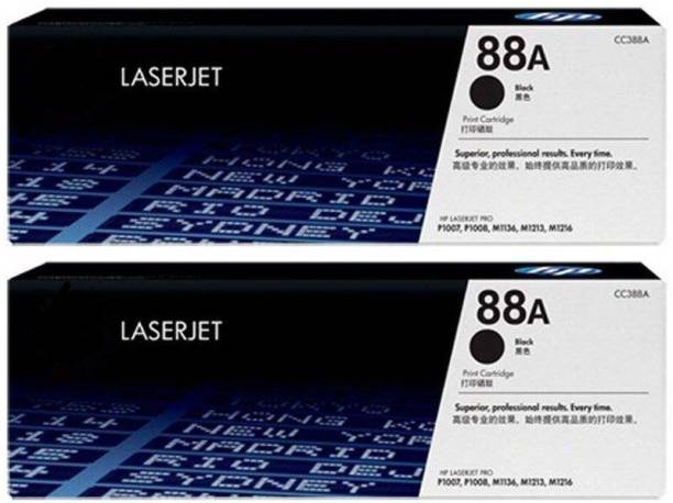 GENUINE 88A HP Toner Cartridge For Use In HP LaserJet P1007, HP LaserJet P1008, HP LaserJet Pro P1106, HP LaserJet Pro P1108, HP LaserJet Pro M1136 MFP, HP LaserJet Pro M1213nf MFP, HP LaserJet Pro M1216nfh MFP, HP Hotspot LaserJet Pro M1218nfs MFP, HP LaserJet Pro M126nw MFP, HP LaserJet Pro M128fn MFP, HP LaserJet Pro M128fw MFP Printers ( Paik of 2pic ) Black Ink Toner