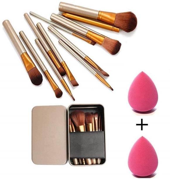 SWIPA Makeup Brush Set of 12 with storage box + 2 sponge puff