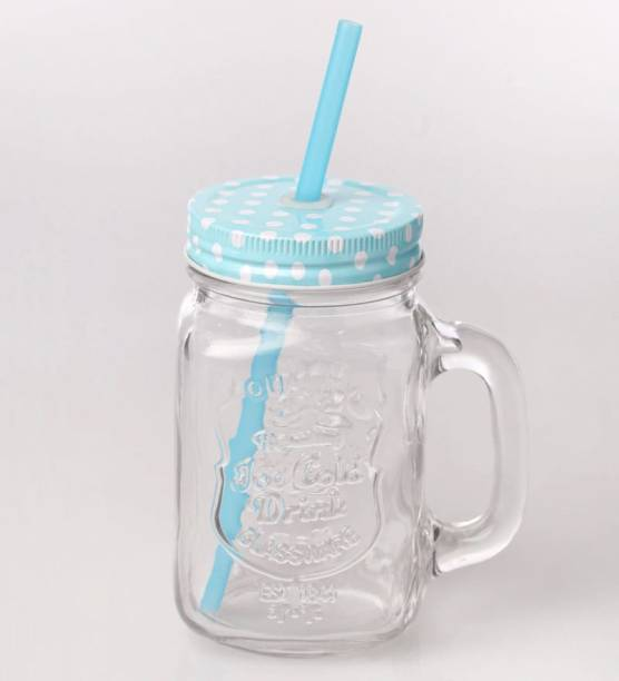 BUY SURETY Glass Straw Jar with Lid and Straw Summer Ice Cream Fruit Cold Drinking Water Jars Cold Coffee Juice Cup Glass Mason Jar