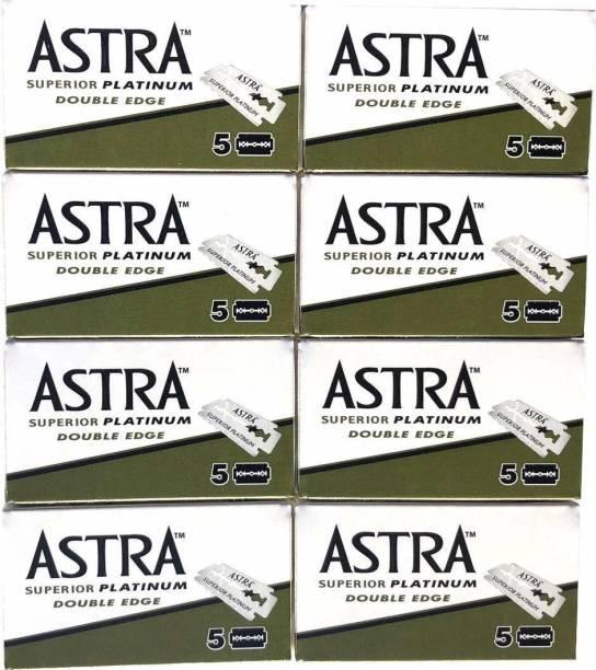 Astra Superior Platinum Double Edge Safety Razor Blades, 40 blades (5x