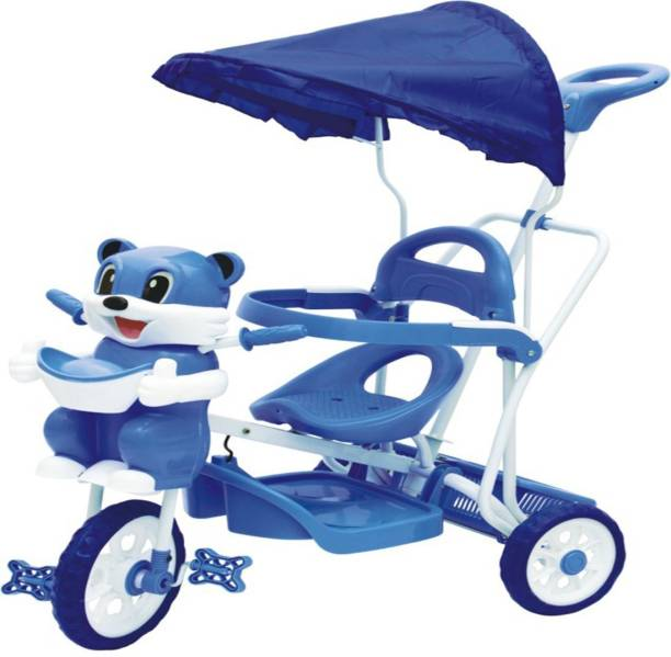 Stepupp BABY TRICYCLE FOR KIDS WITH FRONT OR BACK BASKET AND CANOPY AND PARENT HANDLE OR MUSICAL TRICYCLE BLUE COLOUR KIDS TRICYCLE RECOMMENDED TRICYCLE FOR BABY GIRL OR TRICYCLE FOR BABY BOY OR TRICYCLE FOR TODDLER GIRL OR TRICYCLE FOR TODDLER BOY RECOMMENDED FOR TODDLER 1,2,3,4,5 YEAR CHILDREN TRICYCLE FOR KIDS ST-BTC-502B-533 Tricycle