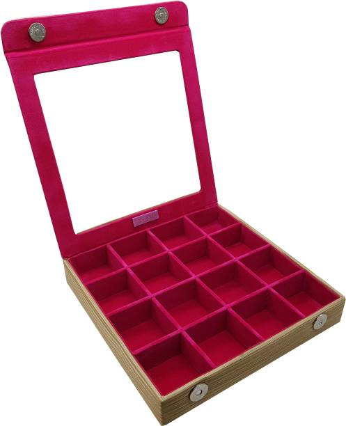 Essart PU Leather Suede Finish Brown Multi-Purpose Makeup and Cufflinks Box with 16 Slots Multi Purpose Jewellery Box, Vanity Box, Cufflinks Organiser Box, Jewellery Box Vanity Box