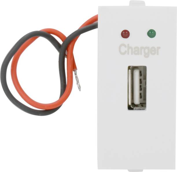 Cona Status 9536 USB Charger Socket 2A with Indicator White (Single) Module Socket USB Socket 2A Charging Accessories Charging Socket with Indicator Electrical Accessories Charger Connector Wall Plate
