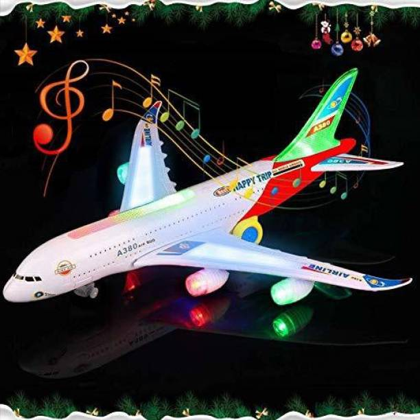 Hardik Toys Airplane Toy Kids Toy Plane Airbus with Flashing Lights, Realistic Aircraft Jet Engine Sounds, Changes Direction Auto, Bump and Go Action Toy Airplanes for 3+ Years(Colors May Vary)