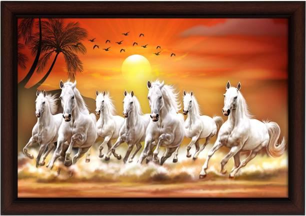 Masstone Lucky Seven Running Horses Vastu UV Matt Textured Framed Digital Reprint 14 inch x 20 inch Painting