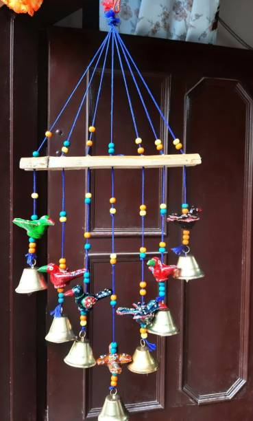SPK SPK Home decor Wooden Handpainted and Handmade Hanging Wind Chimes Pieces (Multicolour, 45 cm) Wood Windchime