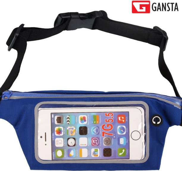 Gansta Pouch for Upto 6 inch Screen size, Mobile Pouch, Blue Waist band for Running Cycling Gym Jogging