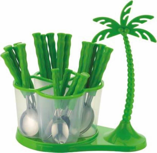 Lion Lender Extra Ordinary 24 pcs Revolving Coconut Cutlery Set(Green) Stainless Steel, Plastic Cutlery Set