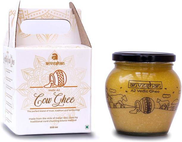Anveshan A2 Vedic Ghee, 500 ml, Made From Desi Cow Milk by Traditional Hand Churning Bilona Method Ghee 500 ml Mason Jar