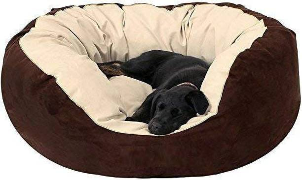R.K Products 54 cream with brown L Pet Bed