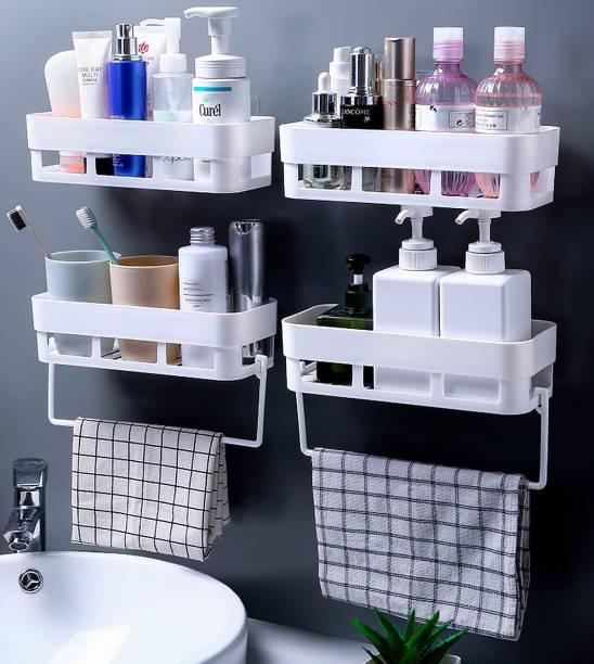 WORA Decor for Kitchen Bathroom Self-adhesive Racks with Towel Hangers Plastic Wall Shelf