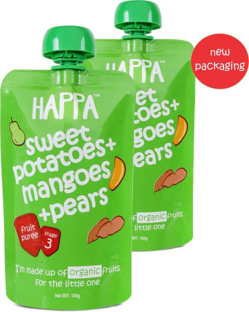 Happa Organic Sweet Potato Pear&Mangoes Fruit&Vegetable Puree, baby food Cereal